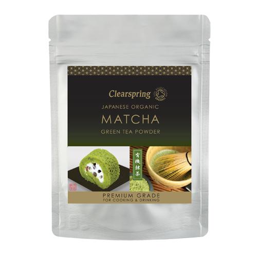 Image of   Matcha grøn te pulver (premium grade) Ø Clearspring (40 g)