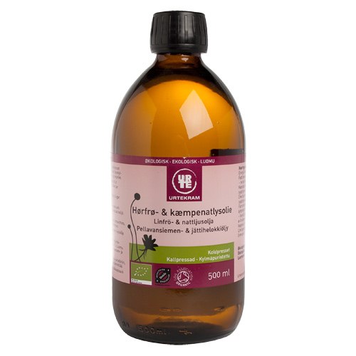 Hørfrø- & kæmpenatlysolie Ø (500 ml)