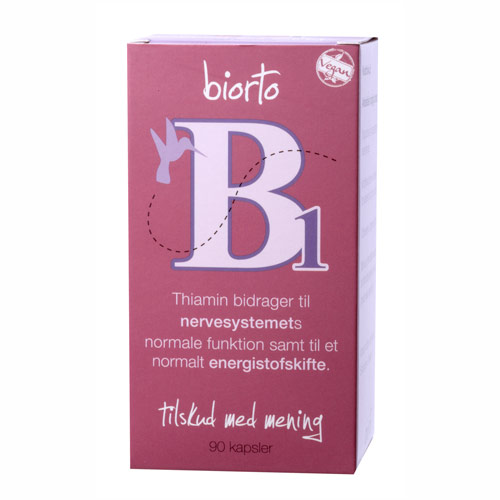Image of   Biorto Vitamin B1 30 mg (90 kapsler)