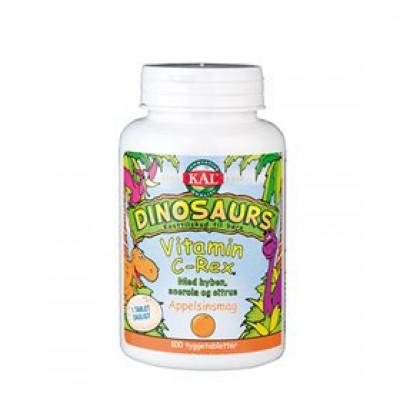 Kal DinoSaurs vitamin C-Rex med appelsinsmag (100 tyggetabletter)